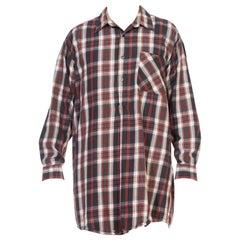 1950S Hanco Green Cotton Plaid Long Sleeve European Pullover Shirt