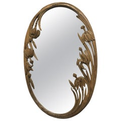 1950s Hand Carved Floral Mirror