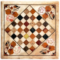 1950s Hand-Carved Marble Chess Board using Italian Pietre Dure Inlay Mosaic
