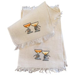1950's Hand Embroidered Linen Cocktail Napkins  Couple Making A Toast