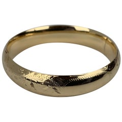 Hand Engraved Bangle Bracelet in 14 Karat Yellow Gold-1950s