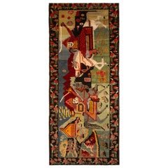 1950s Hand Knotted Midcentury Pictorial Rug Green Red Vintage Horsemen Pattern