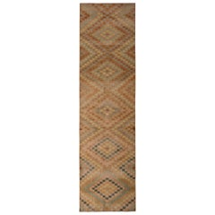 1950s Hand Knotted Midcentury Rug Distressed Beige Red Vintage Art Deco Runner