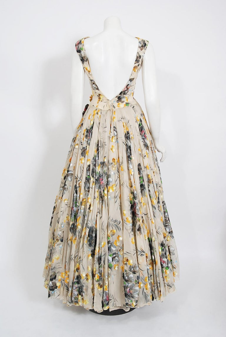 1950's Hand-Painted Floral Ivory Silk Appliqué Skirted Hourglass Backless Gown For Sale 7