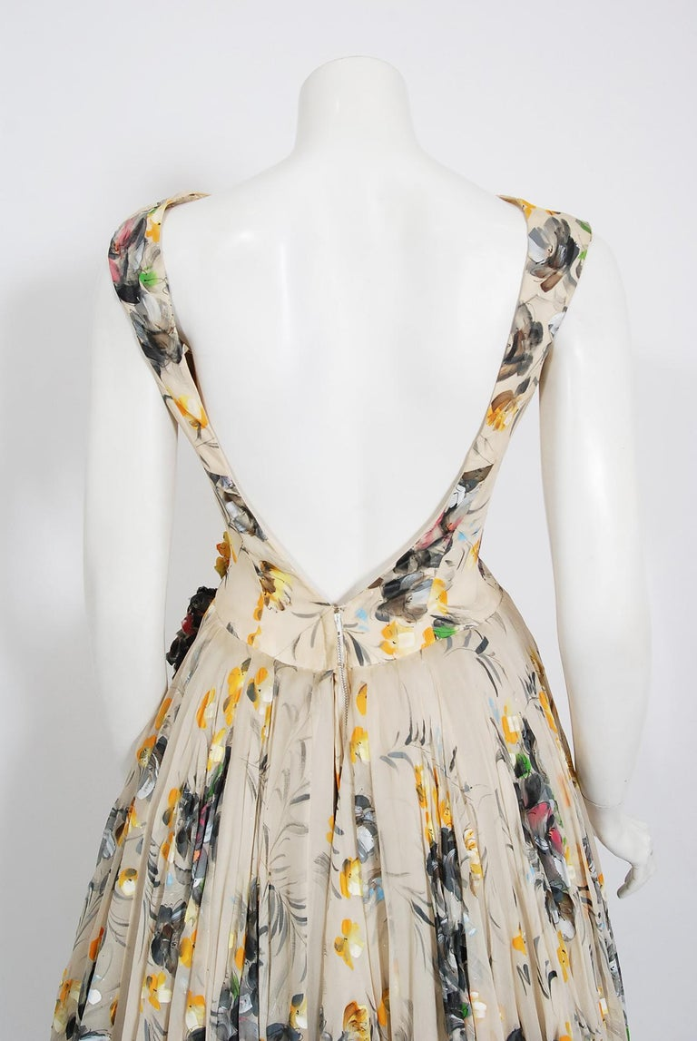 1950's Hand-Painted Floral Ivory Silk Appliqué Skirted Hourglass Backless Gown For Sale 8