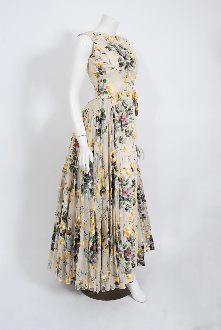 Beige 1950's Hand-Painted Floral Ivory Silk Appliqué Skirted Hourglass Backless Gown For Sale