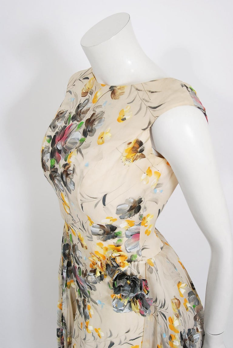 Women's 1950's Hand-Painted Floral Ivory Silk Appliqué Skirted Hourglass Backless Gown For Sale