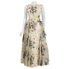 1950's Hand-Painted Floral Ivory Silk Appliqué Skirted Hourglass Backless Gown