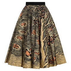 "1950s Hand Painted Gold Mexican ""Autumn"" Themed Skirt With Bronze Flowers"