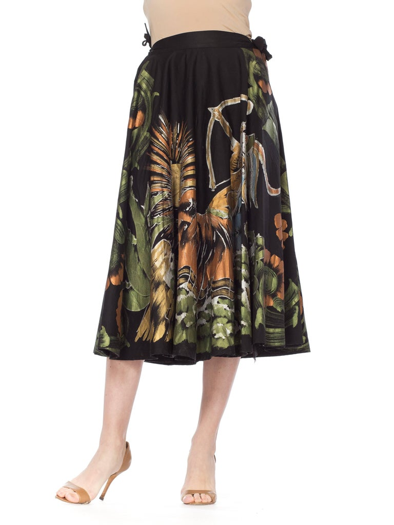 1950s Hand-Painted Mexican Circle Skirt For Sale 6