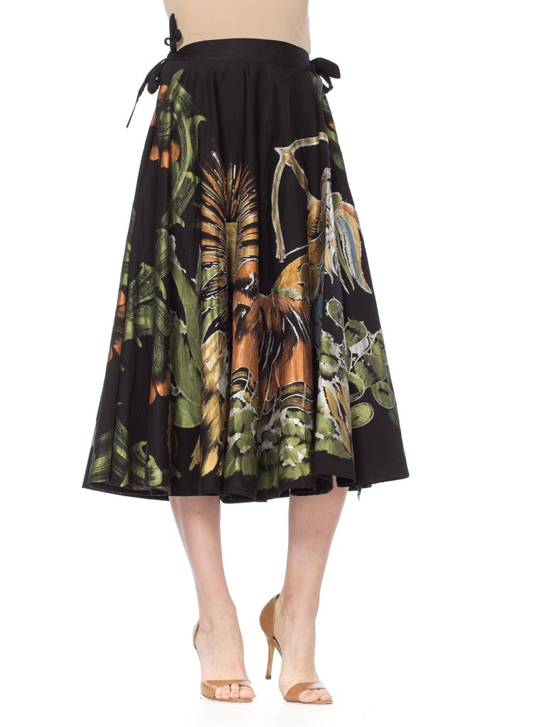 1950s Hand-Painted Mexican Circle Skirt For Sale 7