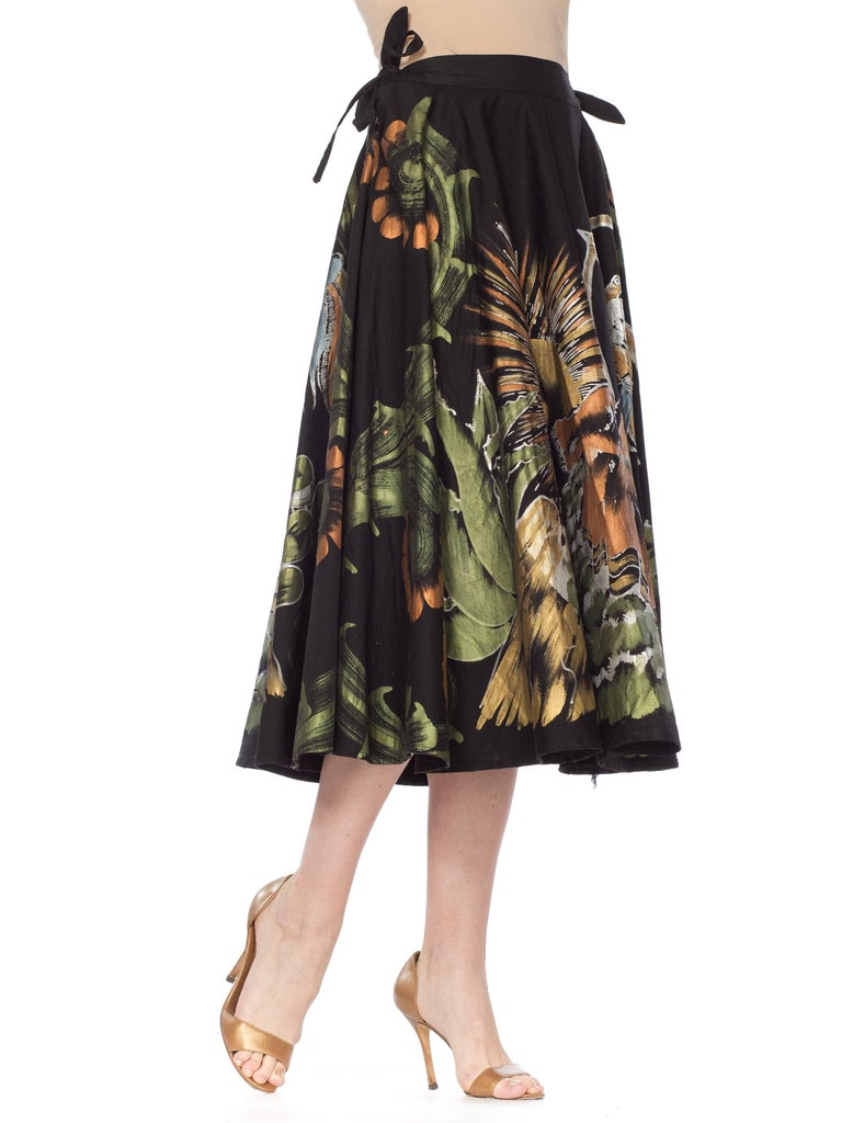 1950s Hand-Painted Mexican Circle Skirt For Sale 8
