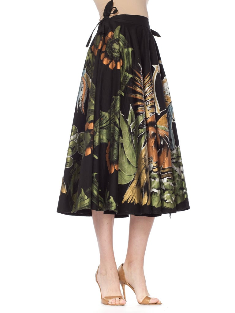 1950s Hand-Painted Mexican Circle Skirt For Sale 9