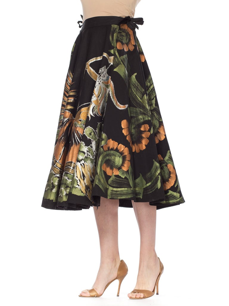 1950s Hand-Painted Mexican Circle Skirt For Sale 10