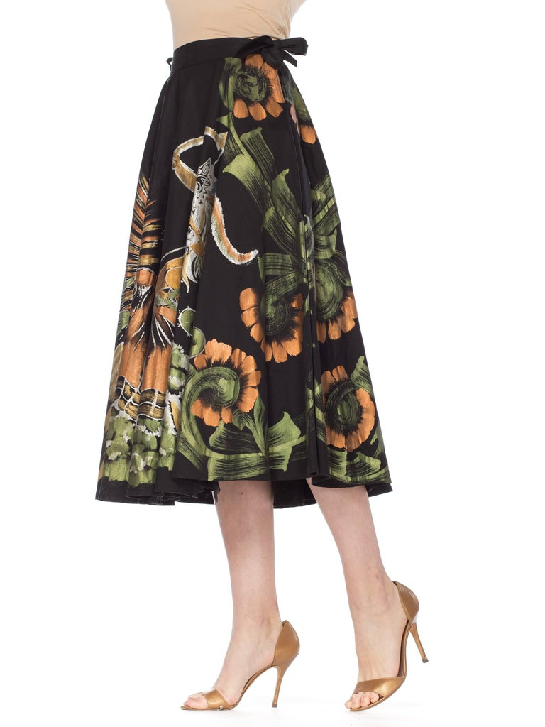 1950s Hand-Painted Mexican Circle Skirt For Sale 11