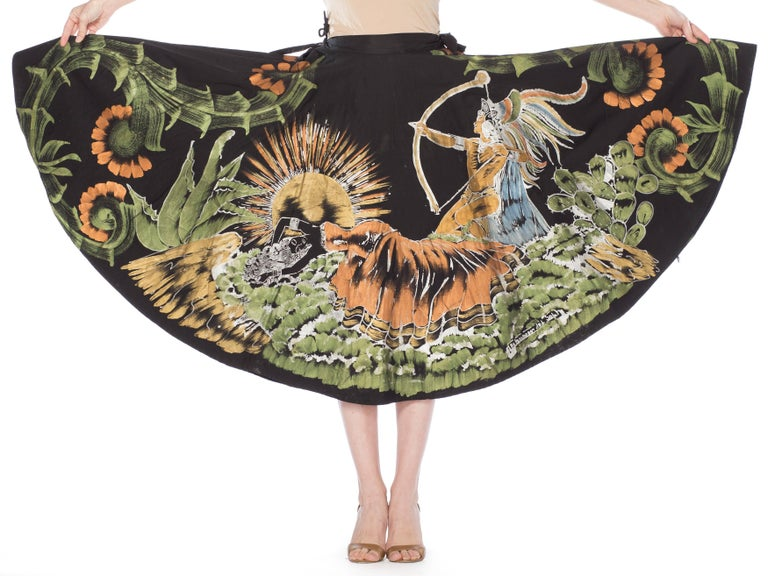Black 1950s Hand-Painted Mexican Circle Skirt For Sale