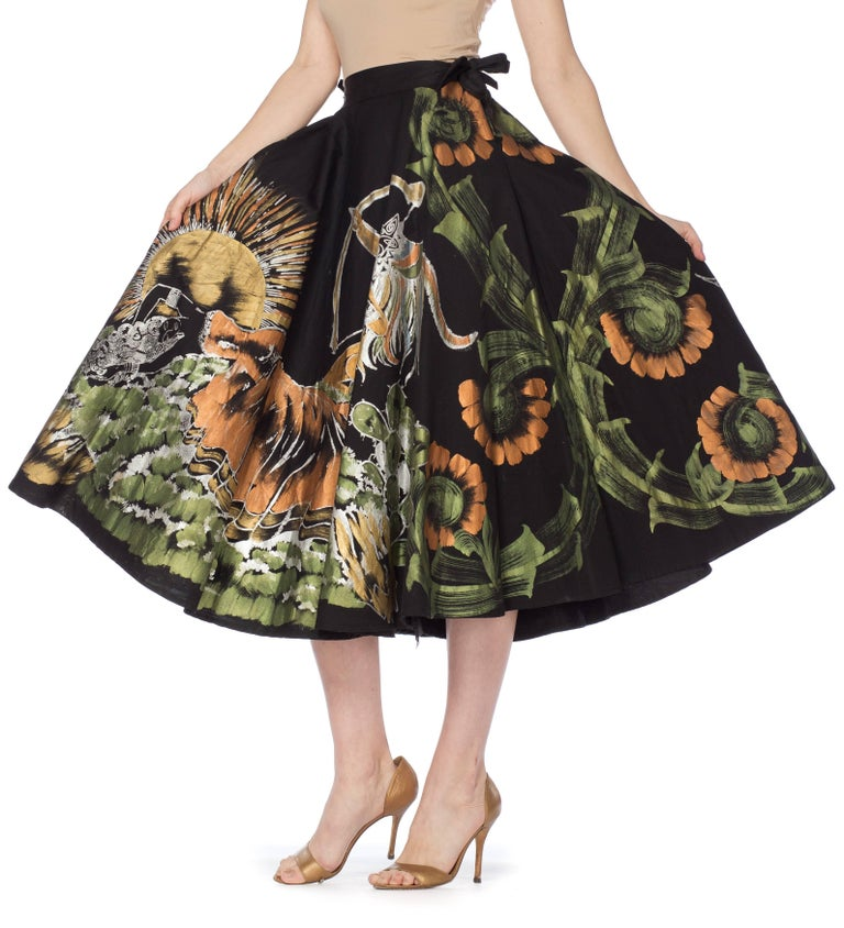1950s Hand-Painted Mexican Circle Skirt In Excellent Condition For Sale In New York, NY