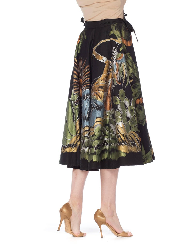 1950s Hand-Painted Mexican Circle Skirt For Sale 2