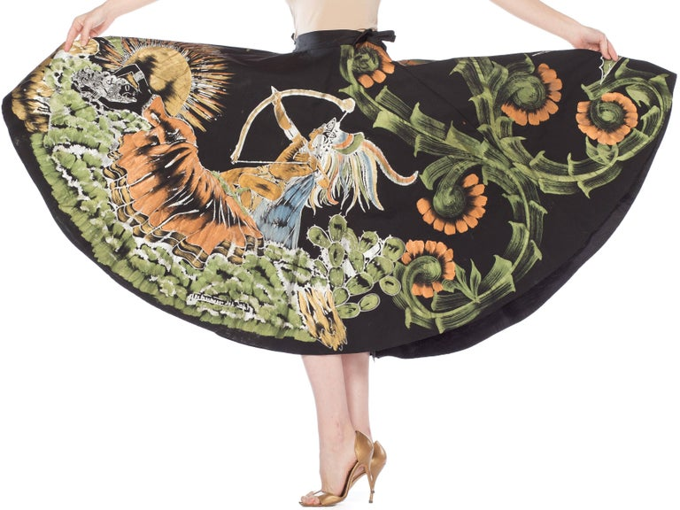 1950s Hand-Painted Mexican Circle Skirt For Sale 3