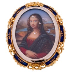 1950s Hand Painted Portrait, 18 Karat Gold and Blue Enamel, Made in Italy