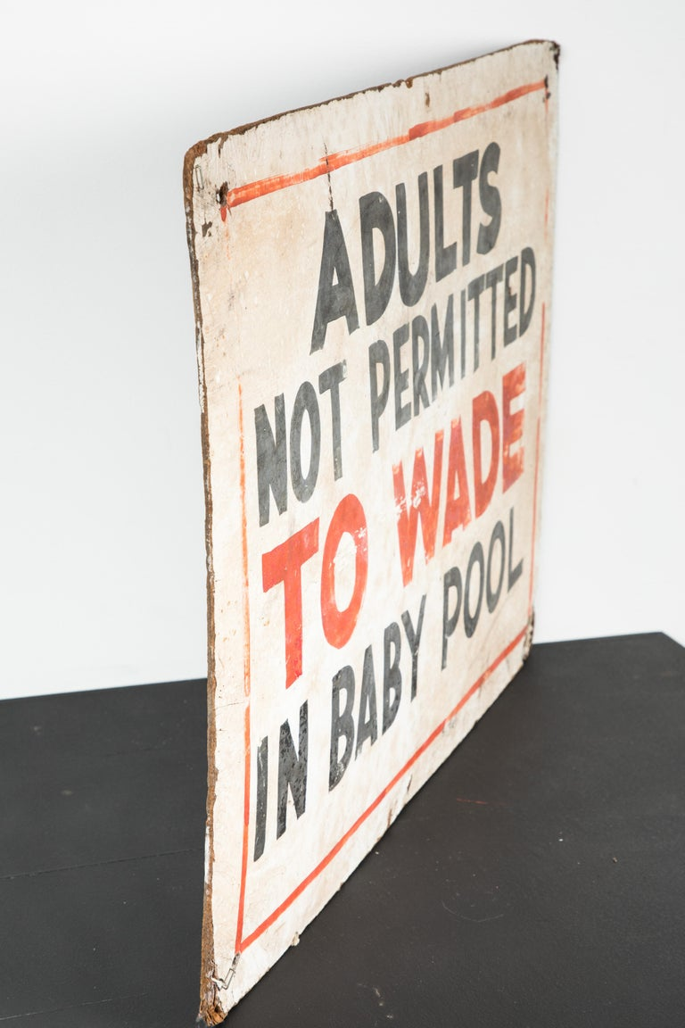 Mid-20th Century 1950s Hand Painted Swimming POOL Sign Adults Not Permitted