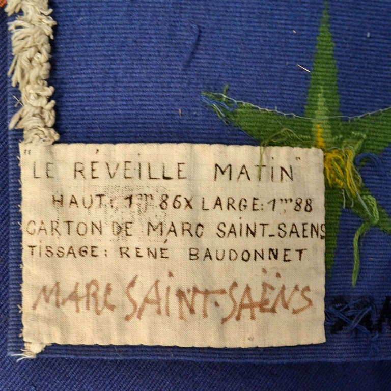 French Tapestry  by Marc Saint Saens Hand Woven 1950's  For Sale 3