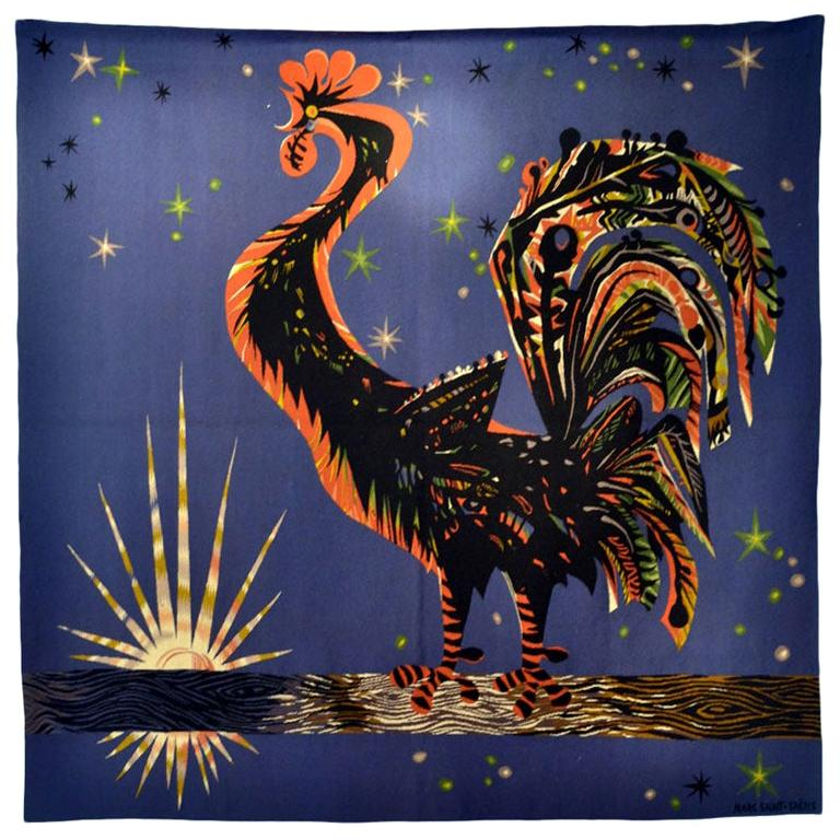 French Tapestry  by Marc Saint Saens Hand Woven 1950's  For Sale