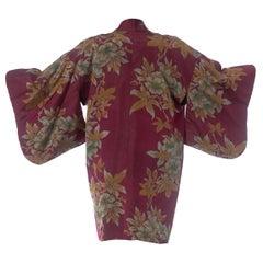 1950S Hand-Woven Ikat Floral Silk Japanese Kimono