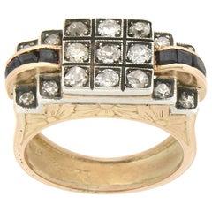 1950s Handcraft Sapphires 18 Karat Yellow Gold Diamonds Cocktail Ring