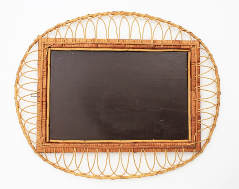 1950s Handcrafted French Riviera Rectangular Mirror with Oval Rattan Frame For Sale 3
