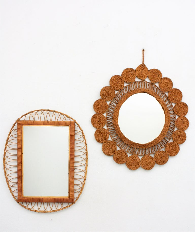 Mid-Century Modern 1950s Handcrafted French Riviera Rectangular Mirror with Oval Rattan Frame For Sale