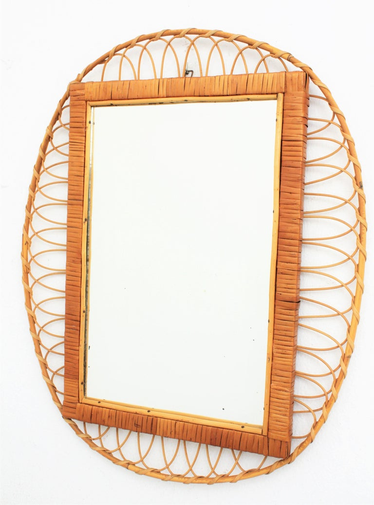 1950s Handcrafted French Riviera Rectangular Mirror with Oval Rattan Frame In Excellent Condition For Sale In Barcelona, ES