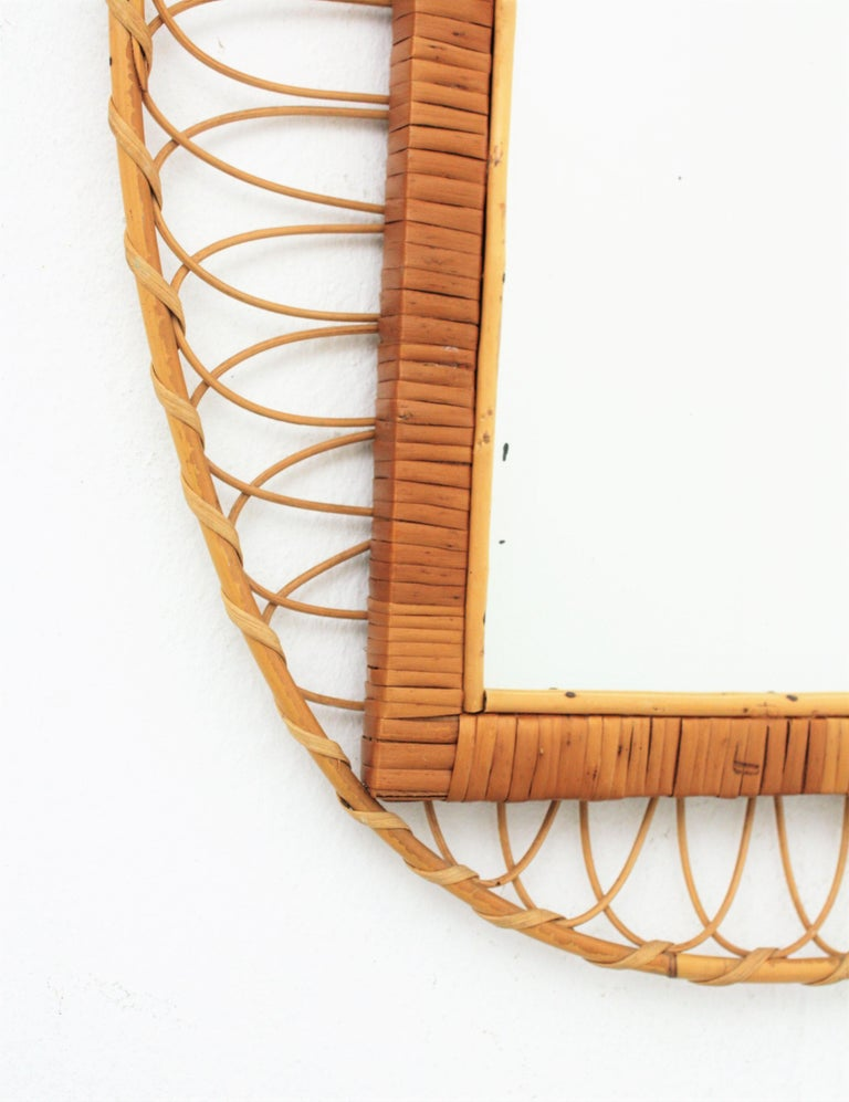 20th Century 1950s Handcrafted French Riviera Rectangular Mirror with Oval Rattan Frame For Sale