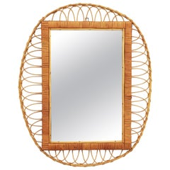 1950s Handcrafted French Riviera Rectangular Mirror with Oval Rattan Frame