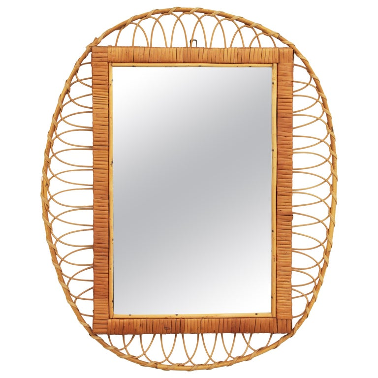 1950s Handcrafted French Riviera Rectangular Mirror with Oval Rattan Frame For Sale