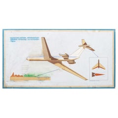 1950s Hand Painted Decorative Soviet Aerospace Educational Sign