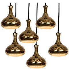 1950s Hans-Agne Jakobsson Perforated Brass Pendants for Markaryd