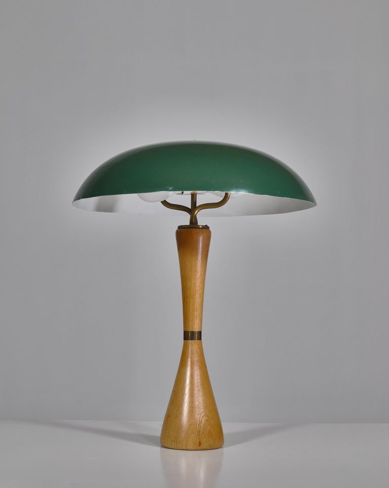Scandinavian Modern 1950s Hans Bergström Table Lamp with Green Shade Made by ASEA, Sweden For Sale