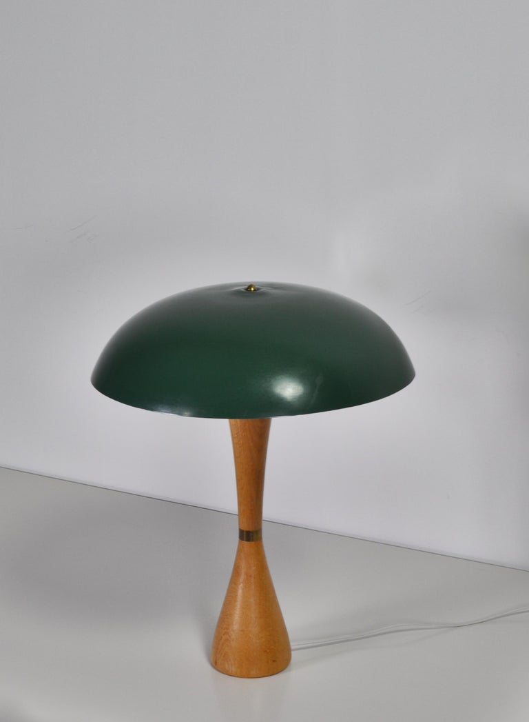 Danish 1950s Hans Bergström Table Lamp with Green Shade Made by ASEA, Sweden For Sale