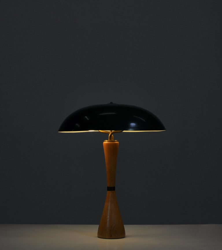 1950s Hans Bergström Table Lamp with Green Shade Made by ASEA, Sweden In Good Condition For Sale In Odense, DK