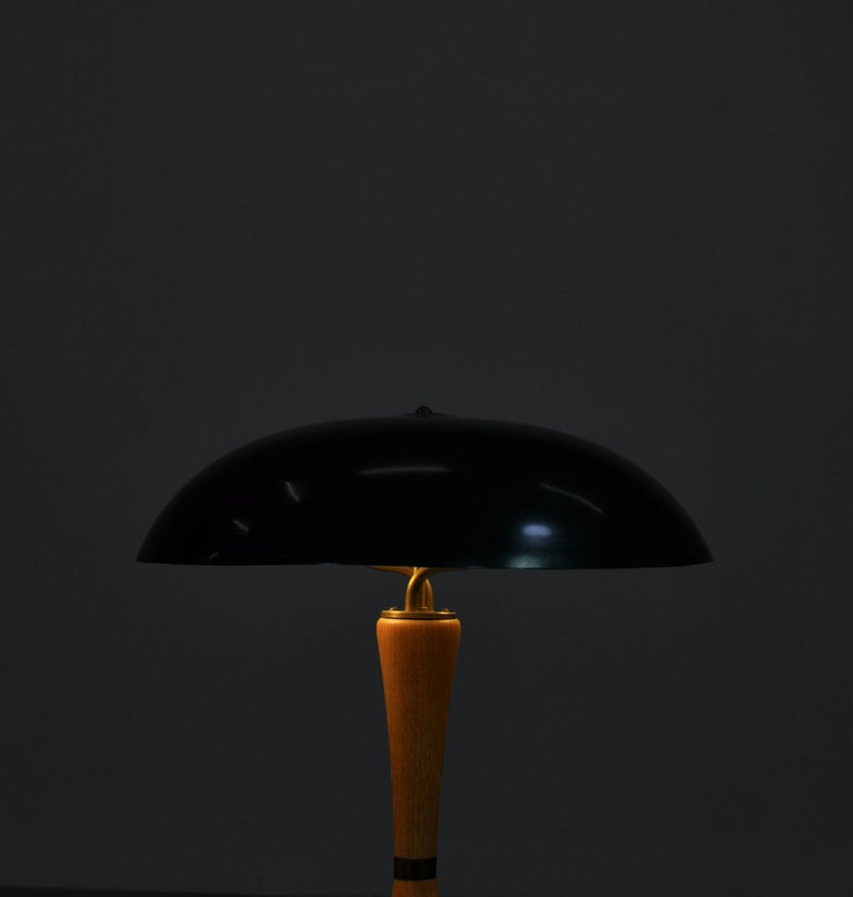 Mid-20th Century 1950s Hans Bergström Table Lamp with Green Shade Made by ASEA, Sweden For Sale