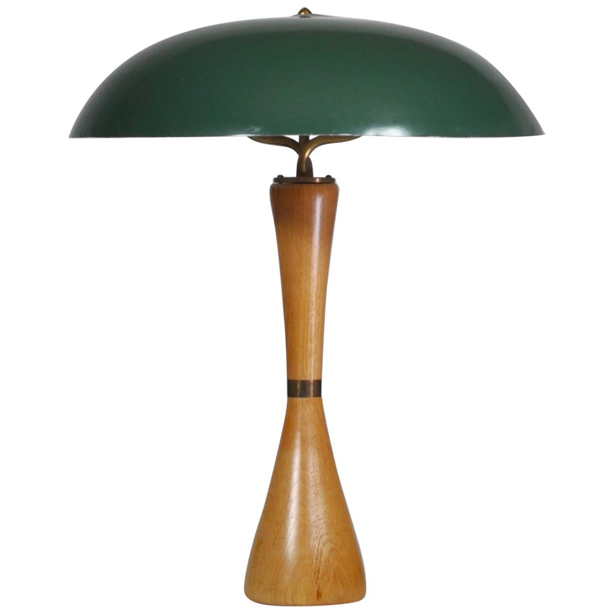 1950s Hans Bergström Table Lamp with Green Shade Made by ASEA, Sweden