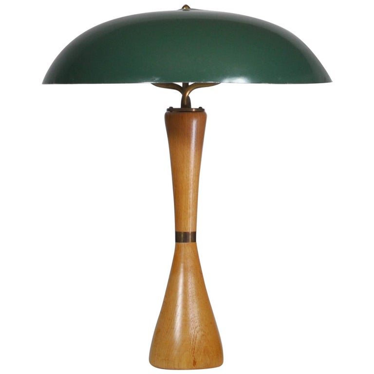 1950s Hans Bergström Table Lamp with Green Shade Made by ASEA, Sweden For Sale