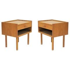 1950s Hans J. Wegner Set of Two Oak Bedside Tables