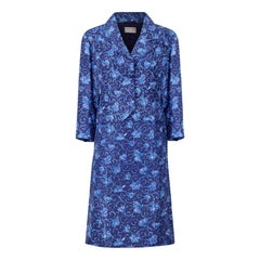 1950s Hardy Amis Couture Blue Floral Skirt Suit