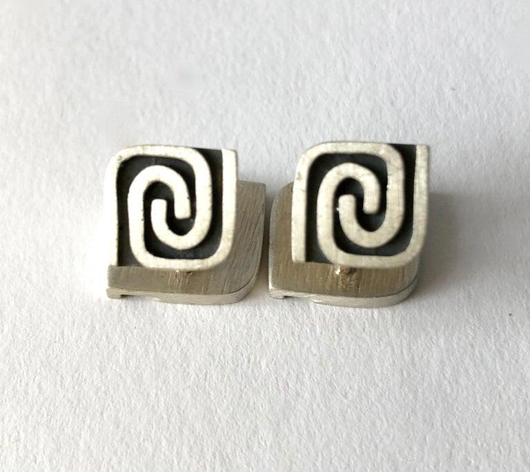 1950s Harold Fithian Sterling Silver American Modernist Swirl Cufflinks For Sale 1