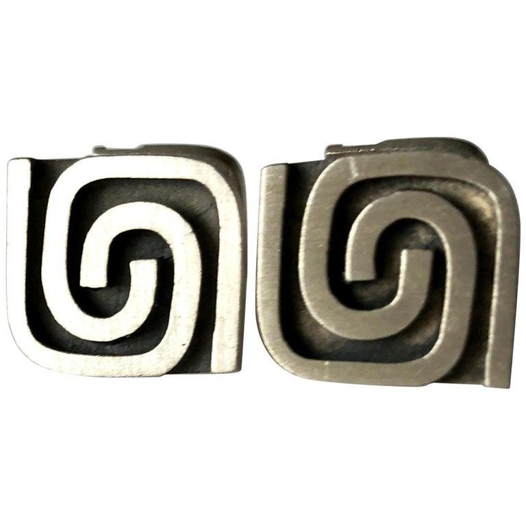 1950s Harold Fithian Sterling Silver American Modernist Swirl Cufflinks For Sale