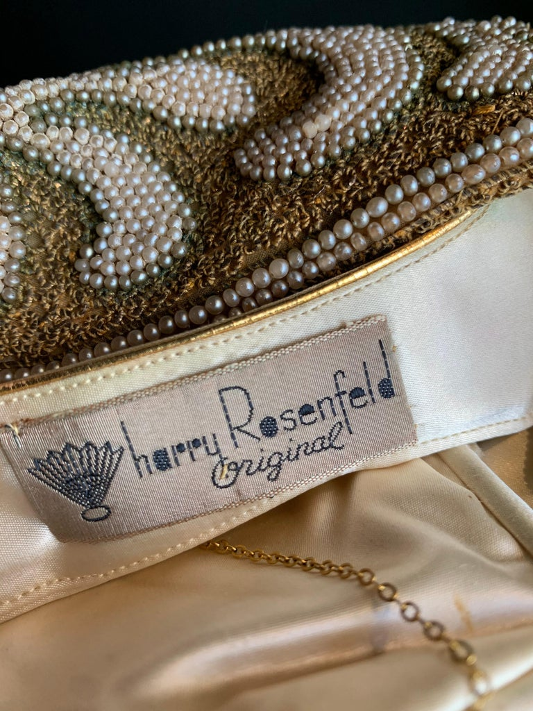 1950s Harry Rosenfeld Gold Filigree Lace and Faux Pearl Embroidered Clutch For Sale 9