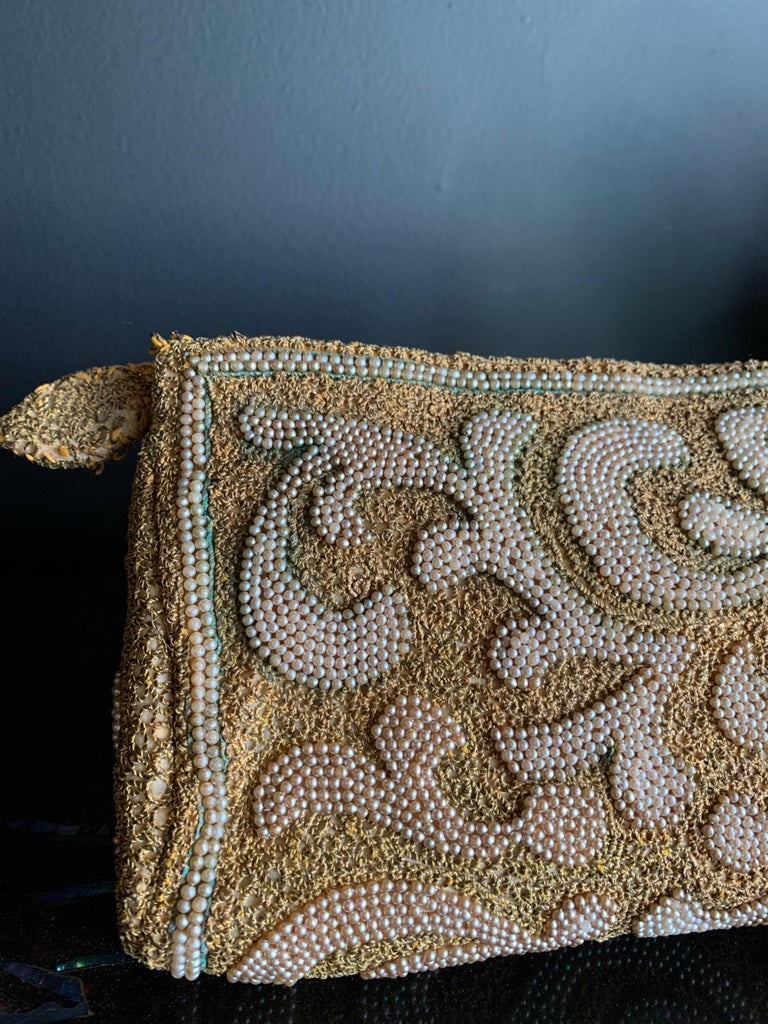 Brown 1950s Harry Rosenfeld Gold Filigree Lace and Faux Pearl Embroidered Clutch For Sale