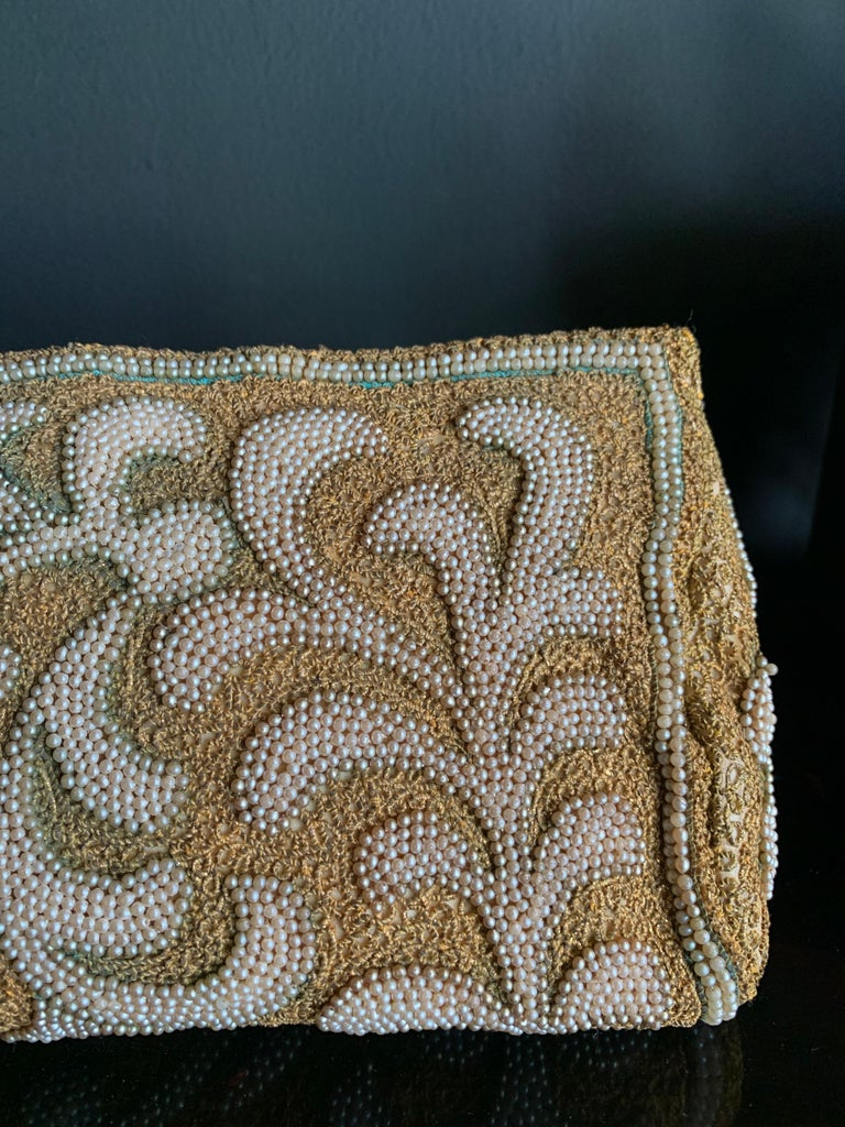 1950s Harry Rosenfeld Gold Filigree Lace and Faux Pearl Embroidered Clutch In Excellent Condition For Sale In San Francisco, CA